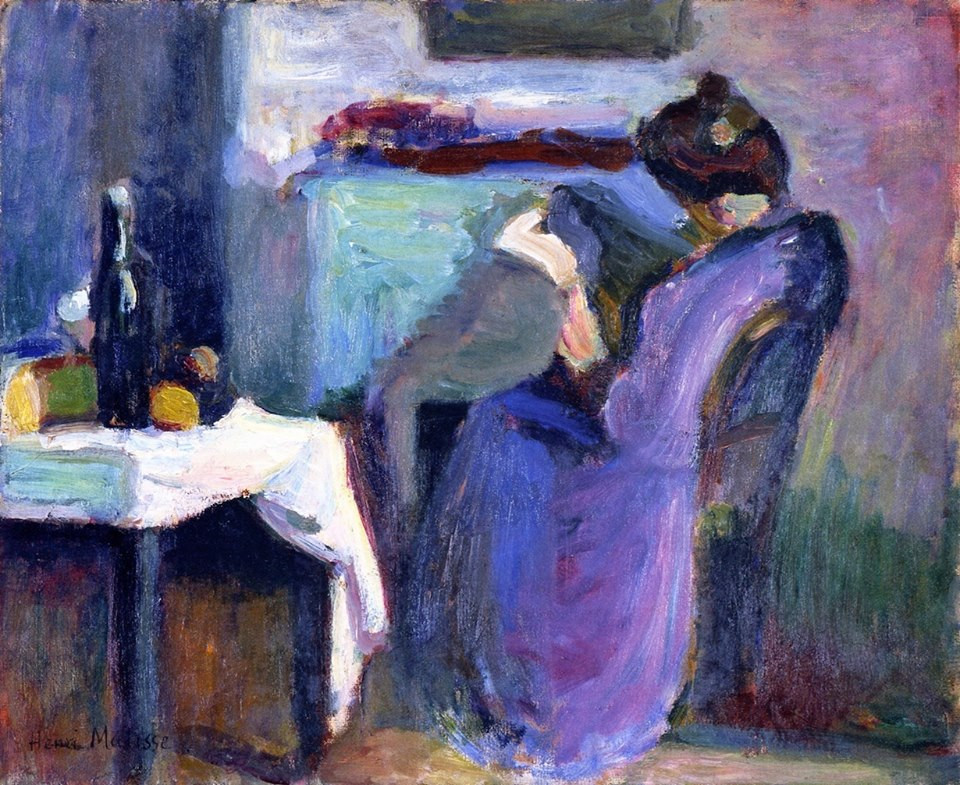 Reading Woman in Violet Dress (1898)